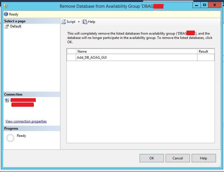 Remove Database from Availability Group window