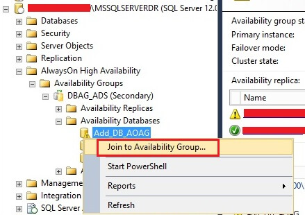 Right click on the database in SSMS that needs to be added to the Availability Group
