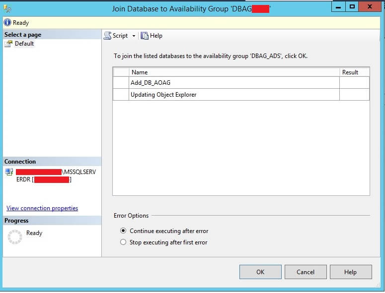Join Database to Availability Group in SSMS