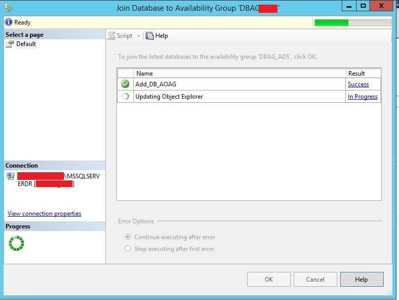 Adding a database to the SQL Server AOAG in SSMS