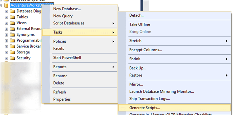 script table with data in SQL Server Management Studio