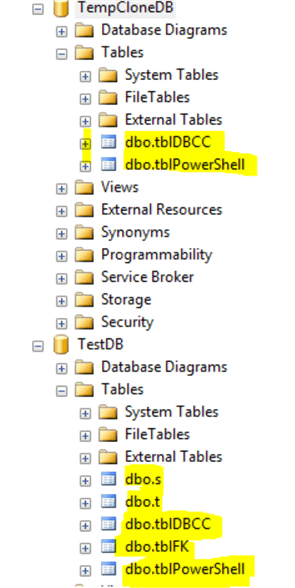 tables in SQL Server Management Studio with DBCC CloneDatabase