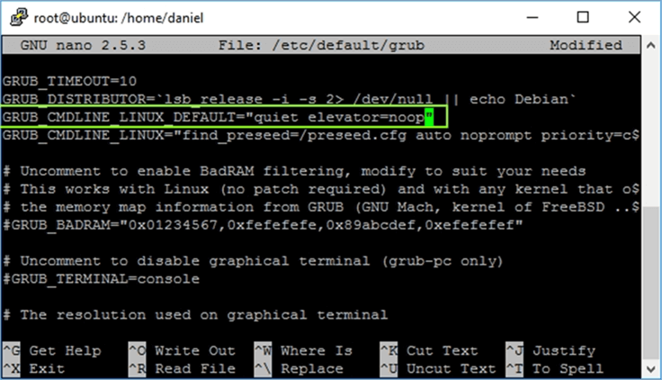 nano_capture - Description: This image shows how to modify the /etc/default/grub file to add the elevator clause.