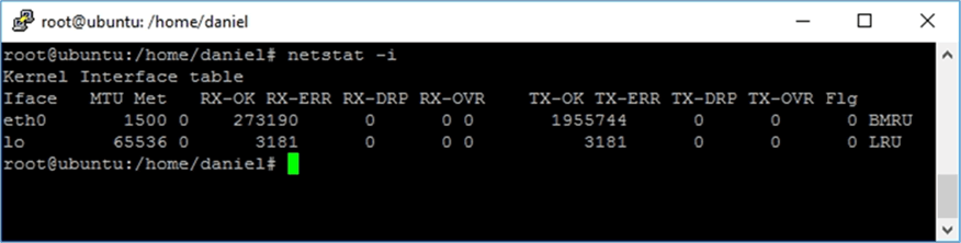 netstat -i - Description: Screen capture of the execution of netstat -i.