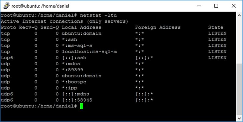 netstat -ltu - Description: Use netstat -ltu to view the listening ports.