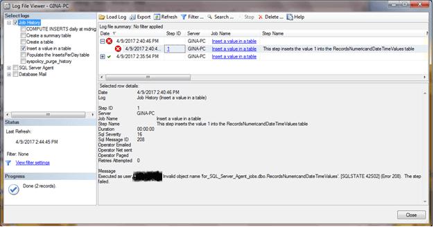 SQL Server Agent Monitoring Details