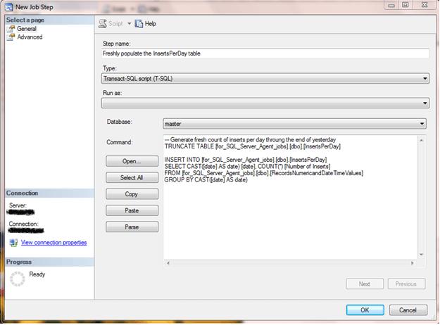 New SQL Server Agent Job Step