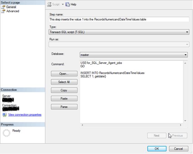 SQL Server Agent Job Step to Insert a Record