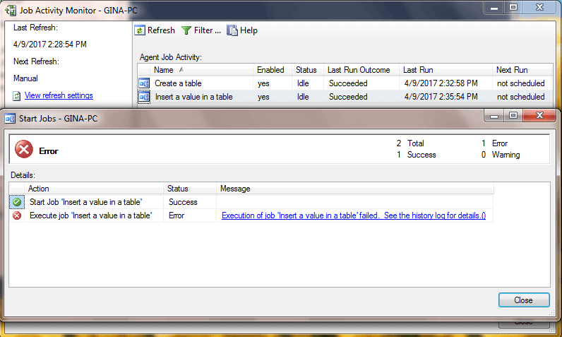 SQL Server Agent Job Error