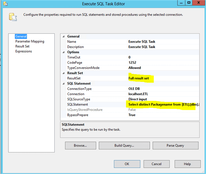 Execute SQL Task - Description: Execute SQL task editor will be configured in this manner