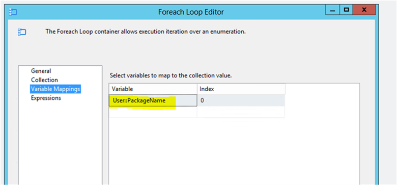 Foreach loop mapping - Description: Results from loop needs to be mapped to PacakgeName variable