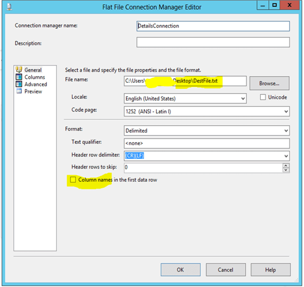 Flatfile connection for Details file - Description: Flatfile connection manager needs to be configured for Details file