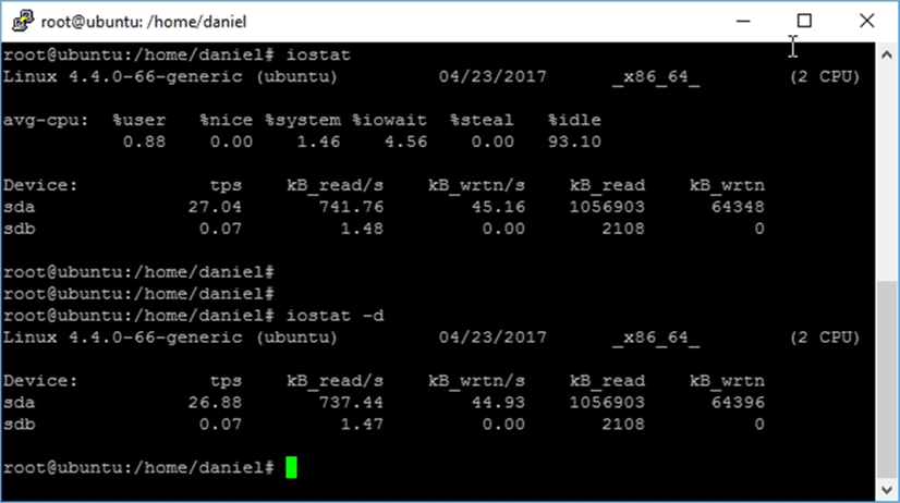 Screen capture of the iostat command execution