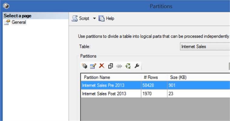 Partitions in SSMS
