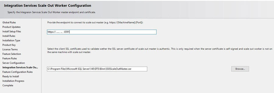 Specify the endpoint and client SSL certificate