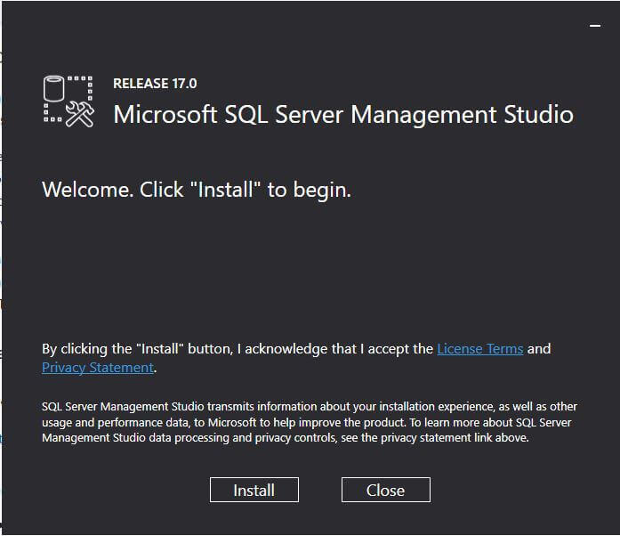 Begin the SQL Server 2017 SSMS Installation