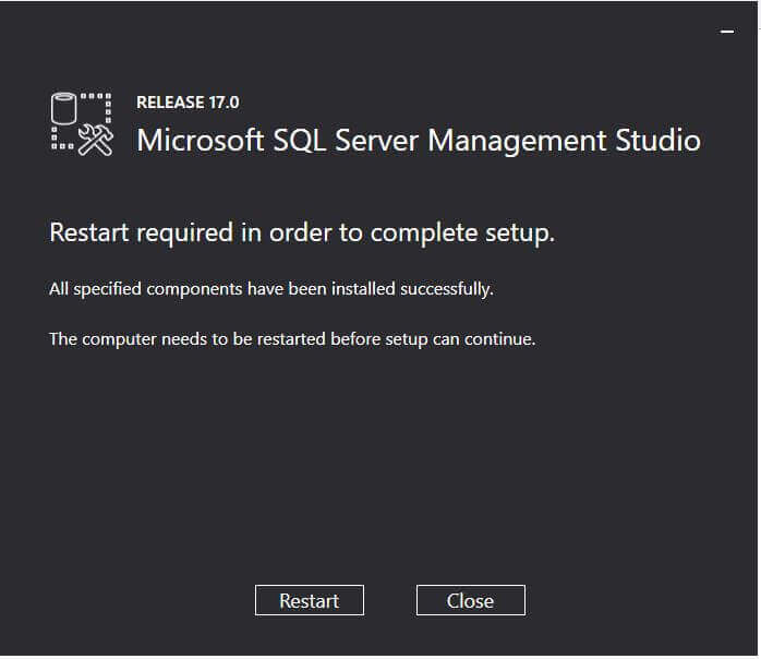 Restart required for SQL Server 2017 SSMS Installation