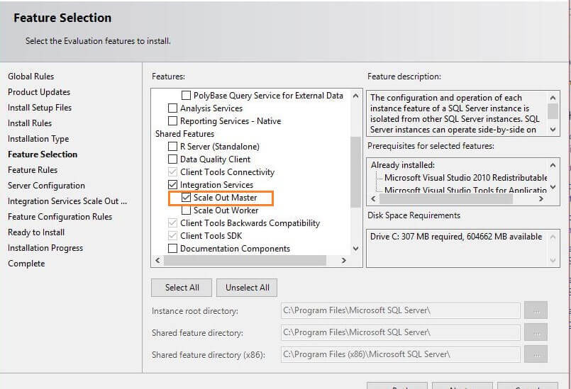 Feature Selection for SQL Server 2017