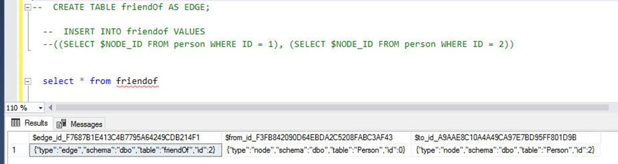 select the content of friendof Edge table in a SQL Server 2017 Graph Database