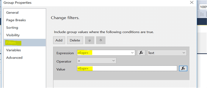 Group filter - Description: here is the row filter expression for filtering the data.