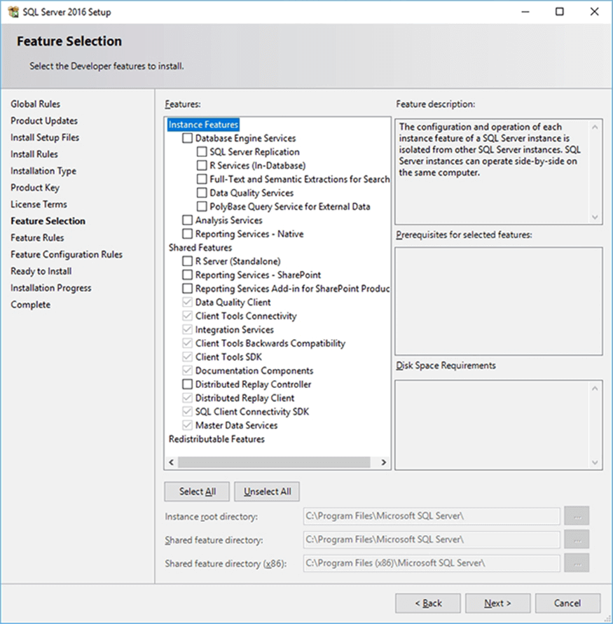 Features - Description: SQL Server Installer Feature Selection Screen.
