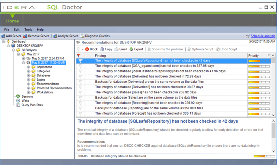 sql doctor findings