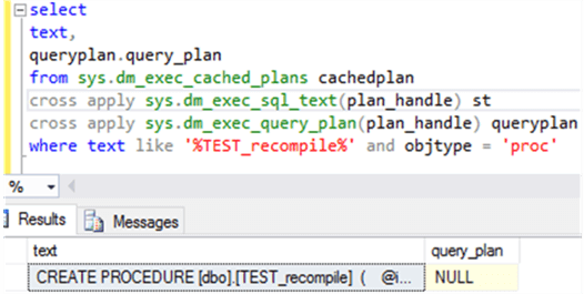 Populate Procedure Test_recompile plan cached details - Description: populate procedure Test_recompile cached plan