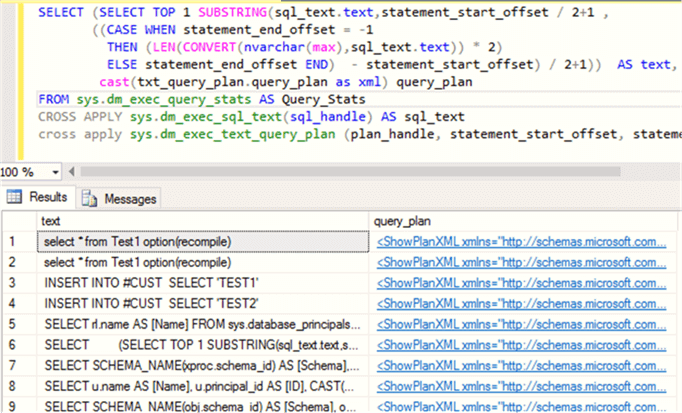 Populate Statement wise plan cached details - Description: Using This Query get