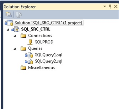 Files in Source Control in the SSMS Object Explorer