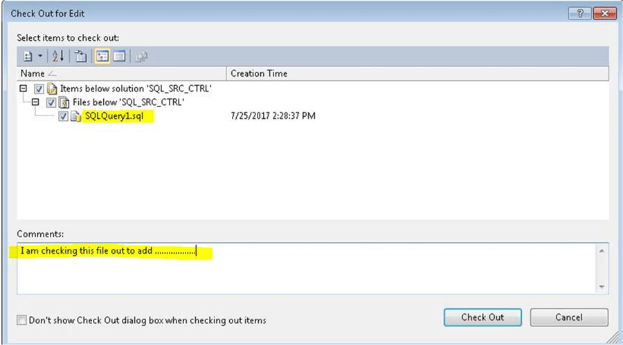 Dialog box to enter comment for Source Control in SSMS