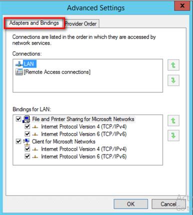 Configure Network Binding Order for a Windows Server 2016 Failover
