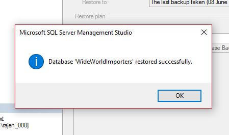 Successful SQL Server Database Restore in Management Studio 2017