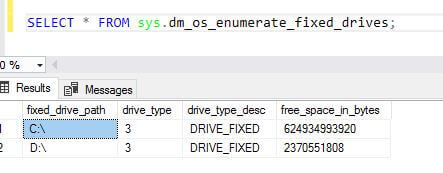 SQL Server sys.dm_os_enumerate_fixed_drives DMV output