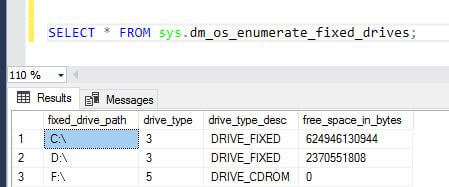 SQL Server sys.dm_os_enumerate_fixed_drives DMV outout