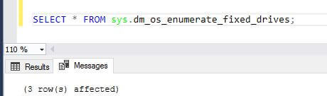 Output from sys.dm_os_enumerate_fixed_drives SQL Server DMV