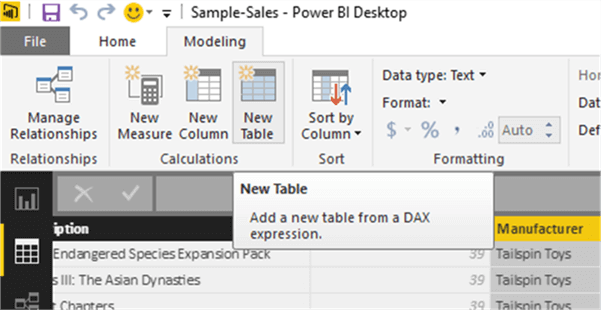 Create new calculated table - Description: Create new calculated table
