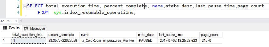 SQL Server Index pause output