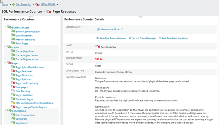 Page Reads - Description: Pages Read, second metric