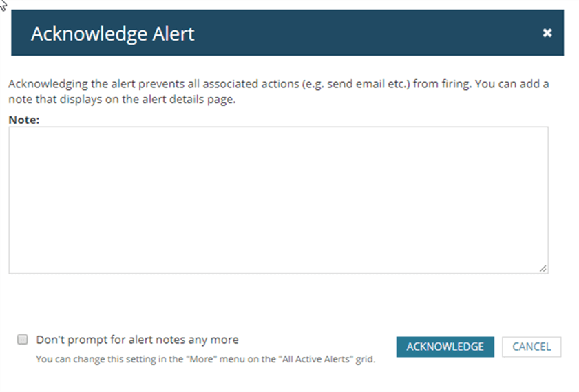 Acknowledge Alert - Description: Acknowledge Alert Window