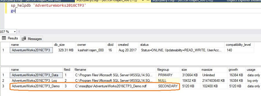 SQL Server Database Properties Secondary Filegroup