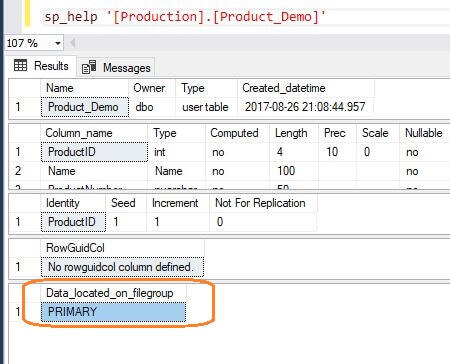 SQL Server Table Properties
