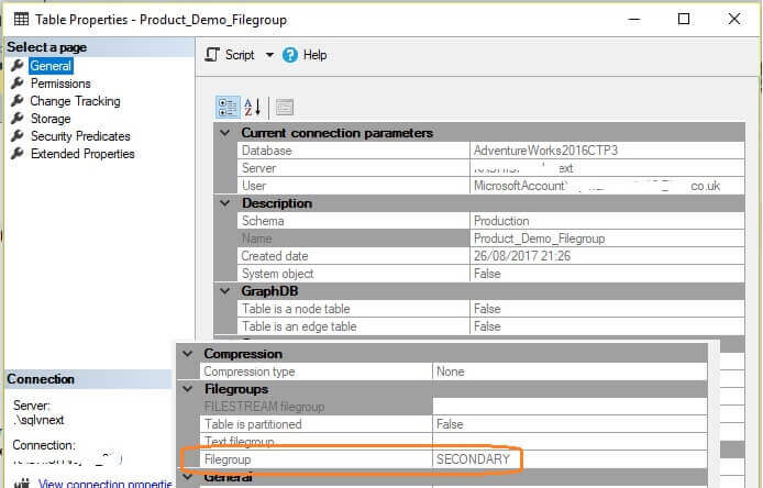 SQL Server Table Properties FileGroup using SSMS