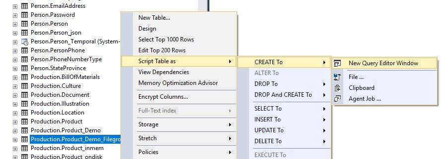 SQL Server Table Properties FileGroup