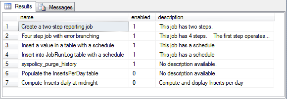 SQL Server Agent description field value for the Four step job with error branching job