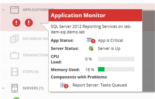 Overlay box tells us the issue is with SSRS due to a tasks queued issue.