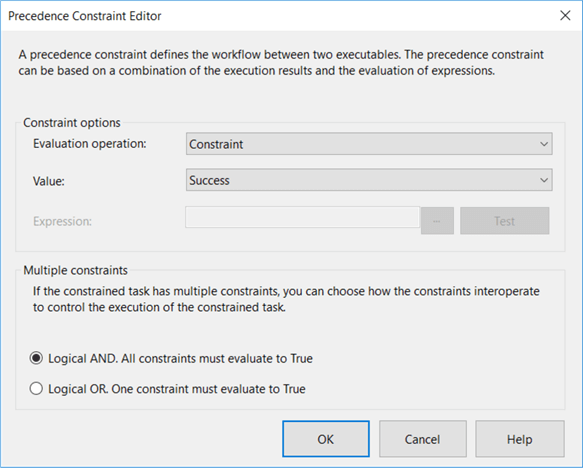 SQL Server Integration Services precedence constraint editor