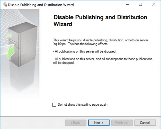 disable publishing and distribution wizard