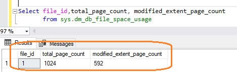 SQL Server 2017 DMV sys.dm_db_file_space_usage has a new field i.e. modified_extent_page_count