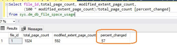 percentage change to the SQL Server database extents