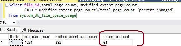 percentage change to the SQL Server database extents after update and insert commands